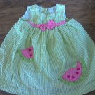 Toddler girl's green and white plaids sleeveless dress 2T