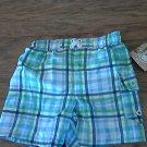 New OP baby boy's blue plaids elastic waist swim short 18 mos