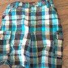 Rocawear baby boy's blue, black, white plaid short 12 mos