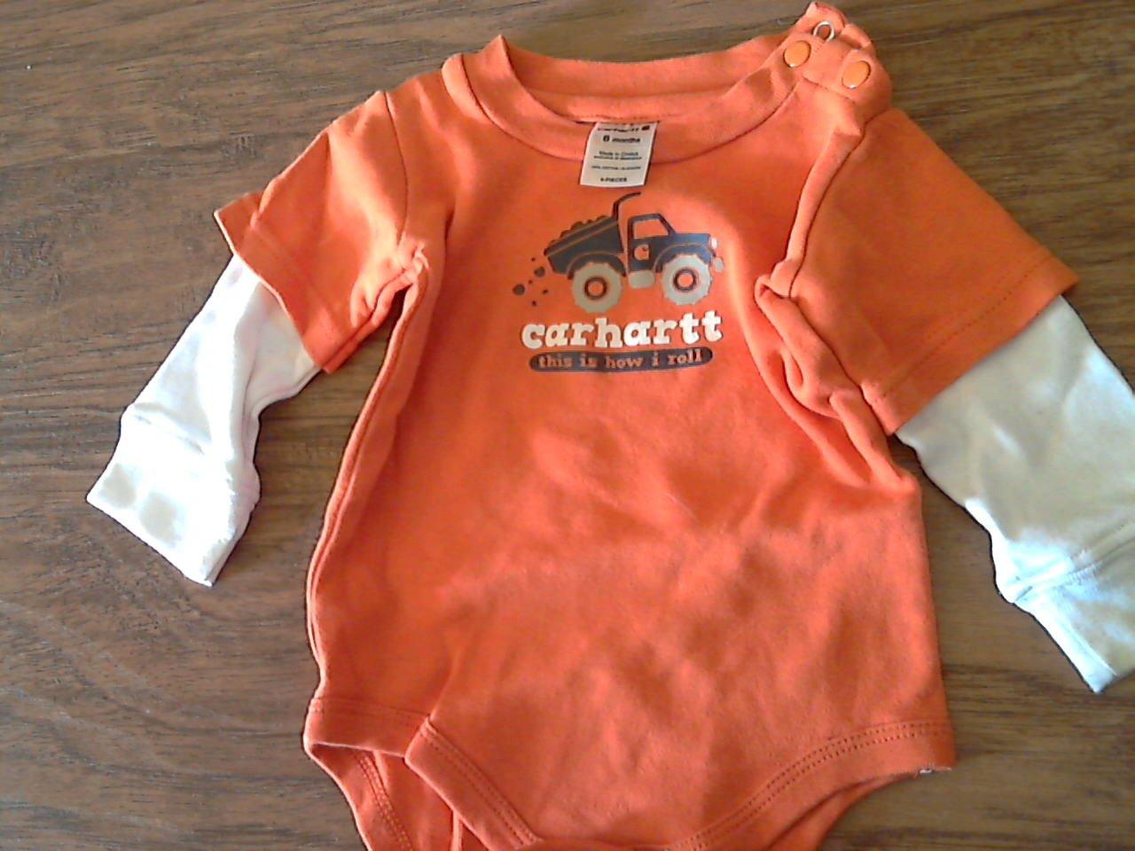 Carter's baby boy's orange long sleeve bodysuit 6 mos