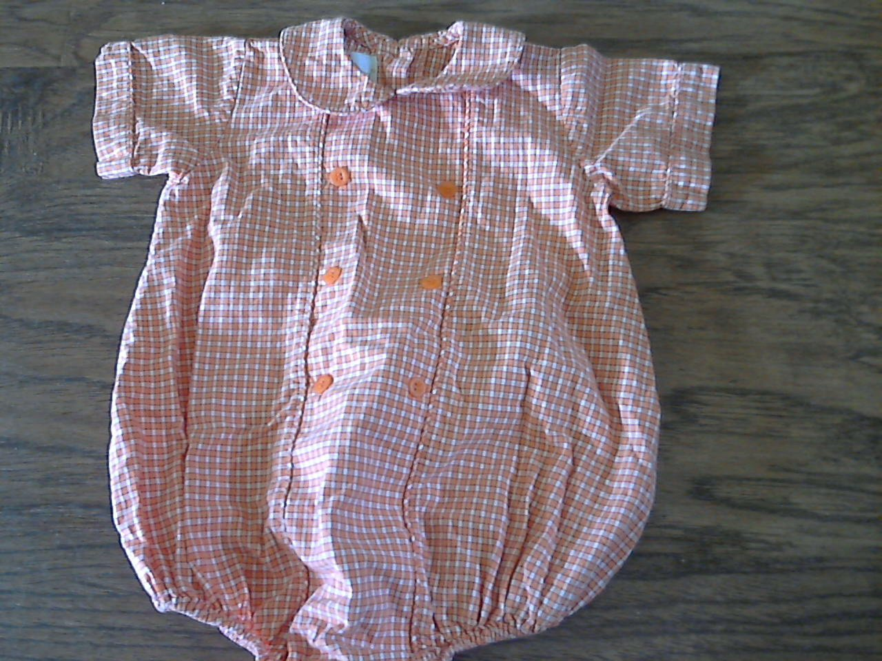 Baby boy's orange plaids short sleeve romper 12 mos