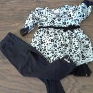 Little Lass girl's black animals long sleeve shirt pant set 4T