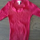 Bamboo Traders woman/girls red short sleeve stretch waist scoope shirt size Medium