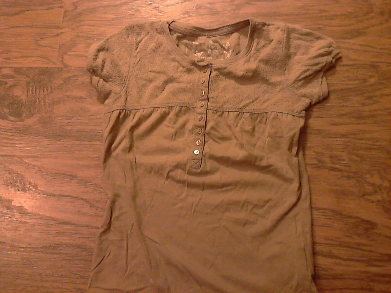 Faded Glory girl's brown short sleeve shirt size M (7-8)