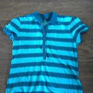 Faded Glory woman/girls blue  stripe short sleeve shirt size L/G (12/14)