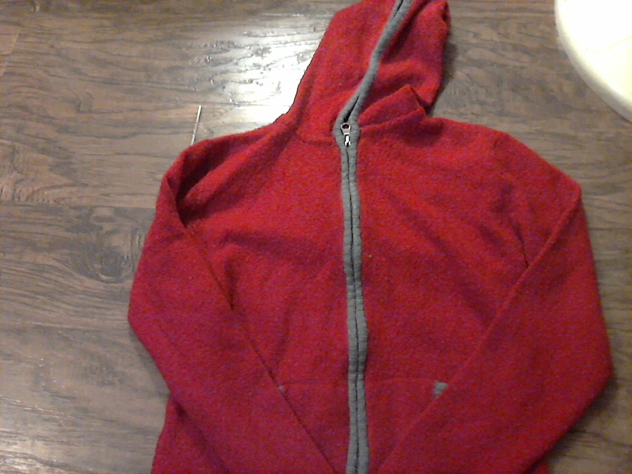 Faded Glory woman/ jr girl red hooded long sleeve stretch jacket size 12-14