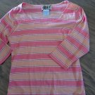 Forenza junior girl's pink and orange striped long sleeve scoope shirt size Large