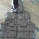 Faded Glory woman's brown hooded puffy vest size XL (16-18)
