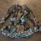 Girls boutique cotton long sleeve smocked floral cheetah shirt size 4T