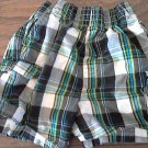 Garanimals baby boy black, grey, green plaid short size 18 mos