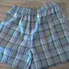 Kidgets baby boy's grey,purple, black plaid elastic waist short size 6-9 mos
