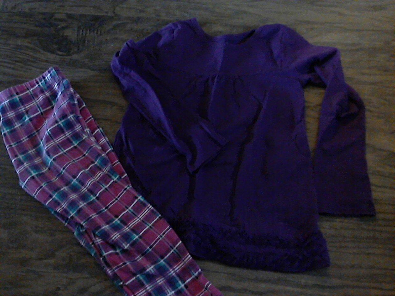Faded Glory girl's purple long sleeve shirt pant set size 4T