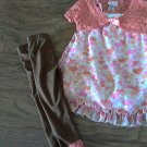 Little Lass girls 3 piece coral and brown heart top pants shrug outfit size 5T