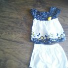 Healthtex toddler girl white and black sunflower sleeveless shirt n short set 4t