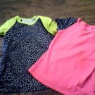 2 piece Danskin Now toddler girls black and hot pink leopard tees size 4t-5t