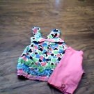 Nannette girl's 2 piece pink knit shirt and short size 6