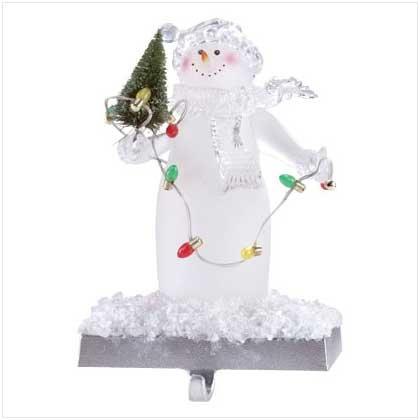 Lighted Snowman Stocking Holder