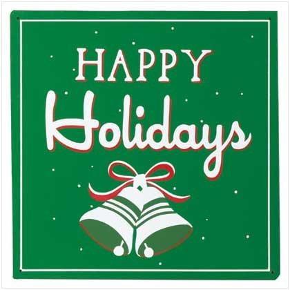 Tin 'Happy Holidays' Sign