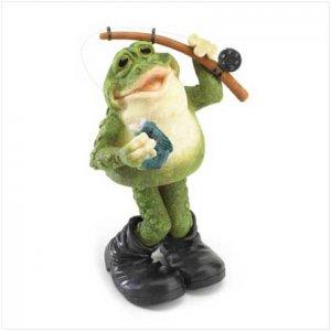 Frog with Fishing Pole Bobble Figurine