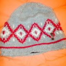 Knitted red/gray winter hat