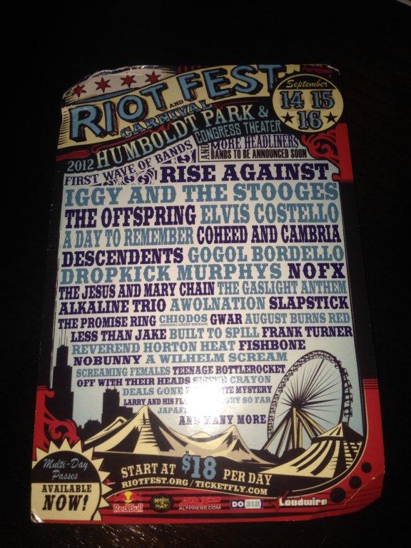 chicago riot fest 2009 flyer