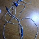 blue and white ear bud headphones