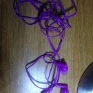 purple ear bud headphones