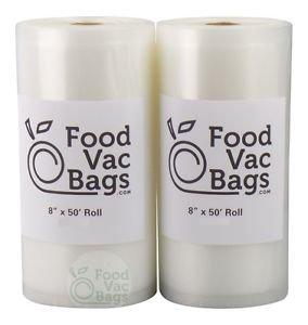 2 FoodVacBags 8x50 Rolls 4 mil Vacuum Sealer Bags! HUGE Food Saver! 100 Feet