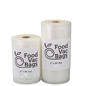 Two FoodVacBags 4mil 6x50 & 8x50 Food Vacuum Sealer Bags - BIG Money Saver!