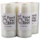 4 FoodVacBags Embossed 8x50 Rolls Vacuum Sealer Food Storage Bags! Food Saver!