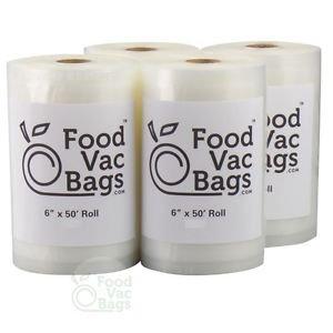 4 FoodVacBags 4mil 6x50 Rolls Vacuum Food Storage Bags! HUGE Money & Food Saver!