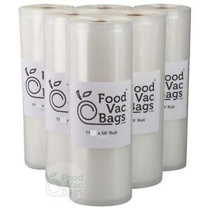 6 Giant 11x50 FoodVacBags Food Storage Vacuum Sealer Rolls! BULK FOOD SAVER!
