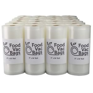 "24 FoodVacBags 8""X50' 4 MIL Embossed Vacuum Sealer Food Saver Rolls - 2 CASES!"