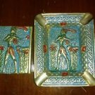 Vintage Solid Brass Ashtray Ancient Greek Cretan Minoan Figure and match holder