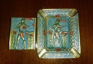 Vintage Solid Brass Ashtray Ancient Greek Cretan Minoan Figure and match holder