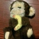 "Vintage 1982 R Dakin & Co baby Monkey holding Banana plush stuffed 6"" lovey"