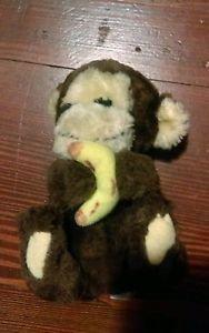"Vintage 1982 R Dakin & Co baby Monkey holding Banana plush stuffed 6"" lovey"
