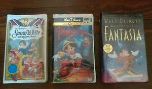 Disney VHS lot Pinocchio snow white, Fantasia Sealed first time & final release!