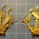 "Vintage Pair  Portugal Copper Wire Souvenir Ship 4"" in Good Condition Marked  CU"