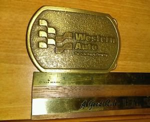 "Nice used Vintage B & H Buckles ""WESTERN AUTO"" Brass Belt Buckle USA made!"
