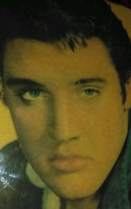A young blue eyed Elvis Presley Picture plaque On Wood Lacquered & Laminated 70'