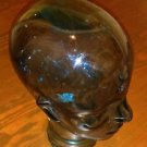 "Blue Glass Hat Jewelry Display recycled Mannequin Head 10"" Tall Spain made!"