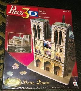 Puzz 3D Jigsaw Puzzle Notre Dame Cathedral 366 Pcs Wrebbit NIB - free shipping!
