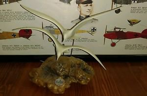 Vintage John Perry twin flying Seagulls Sculpture in Burl Wood Signed studio