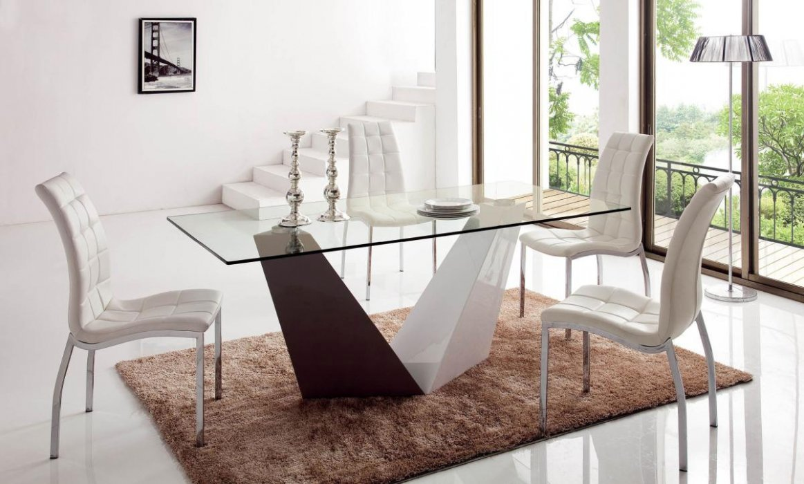 clear rectangular lacquered dining set with v shaped base