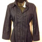 New York & Company Womens Medium Navy Blue Silver Lines Dress Blouse