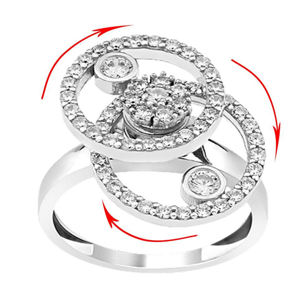 925 Sterling Silver Teufel Motion Ring Round Desing