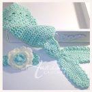 Crochet Mermaid Cocoon Set - Photo Prop - Mint and Vanilla - Brooke
