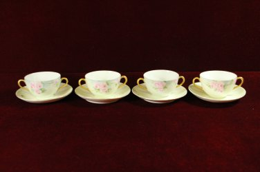 Antique China Handled Cream Soup Bowls Saucer Pink Roses