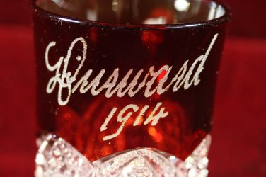 Antique EAPG Souvenir Ruby flash Shot Glas Mug 1914